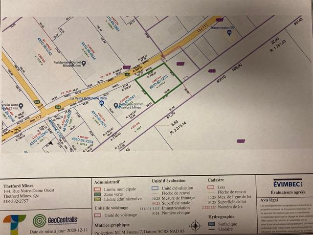Terrain à vendre à Thetford Mines, Chaudière-Appalaches, 4916, boulevard  Frontenac Est, 27738882 - Centris.ca