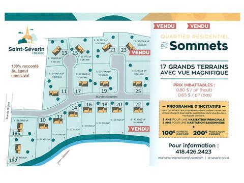 Terrain à vendre à Saint-Séverin (Chaudière-Appalaches), Chaudière-Appalaches, 10, Rue des Sommets, 20948243 - Centris.ca