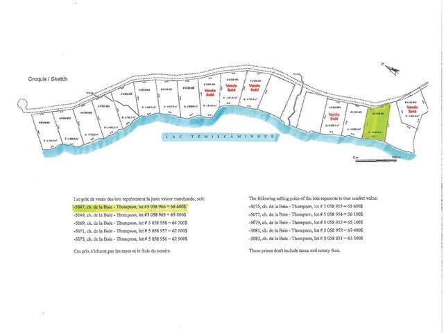 Lot for sale in Témiscaming, Abitibi-Témiscamingue, 5047, Chemin de la Baie-Thompson, 27330489 - Centris.ca